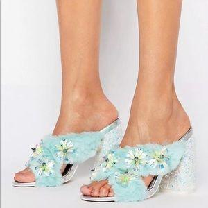 Asos turquoise silver embellished furry heels
